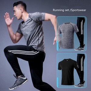 Men's Compression Running Jogging Suits With Shorts Clothing Sportswear Gym Equipment For Fitness Workout Tights 2pcs/Sets