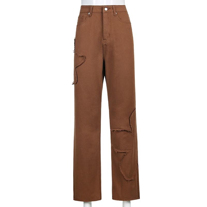 Weekeep Pockets Patchwork Baggy Jeans Fashion Streetwear 100% Cotton Women Denim Trouser Loose Cargo Pants Korean Jeans Harajuku