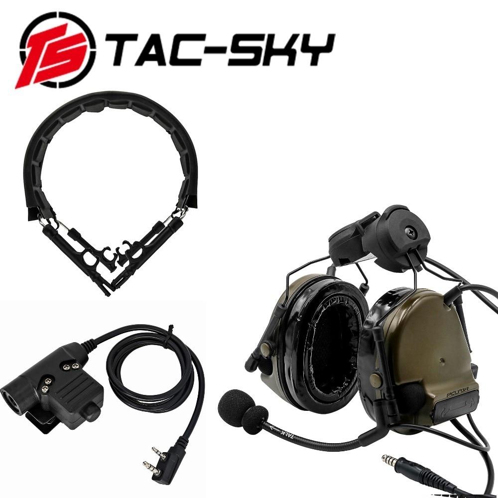 TAC-SKY COMTAC III خوذة قوس سيليكون للأذنين سماعة مع PTT U94 PTT و التكتيكية سماعة استبدال عقال عقال