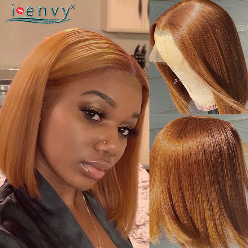 Straight Bob Wig Ginger Lace Front Human Hair Wigs Honey Blonde Lace Front Wig Peruvian Wigs For Women Colored Burgundy Wig Remy