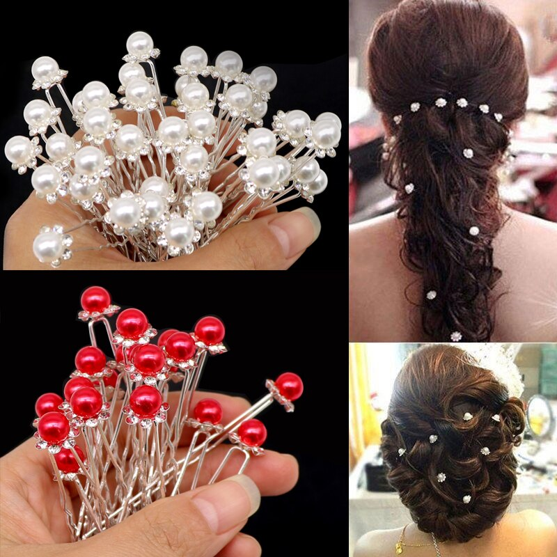 5/12/20 pçs da dama de honra casamento nupcial hairpins acessórios para o cabelo feminino moda cristal pérola pino de cabelo clipe barrettes headdress
