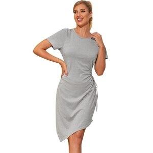 Short Dress Women O-Neck Short Sleeve High Waist Dresses Casual Irregular Hollow Out Fashion Clothe 2021 Summer Dress сарафан
