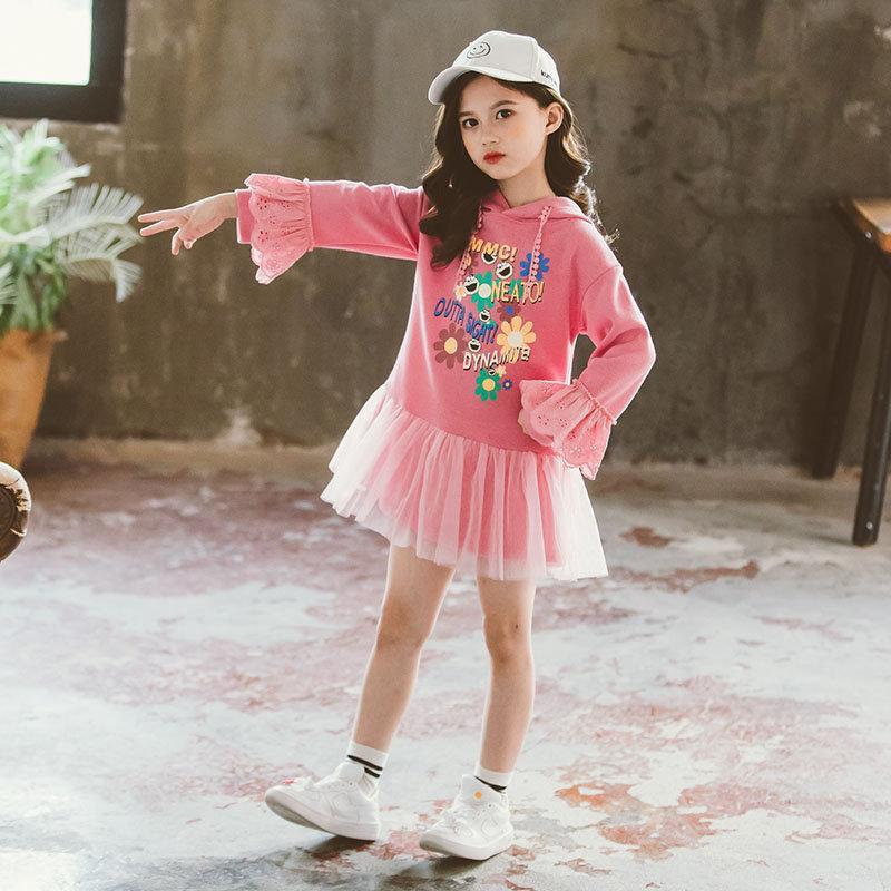 Sudaderas con capucha para niño, de 12 años, para chicas adolescentes, con estampado de flores del Sol, para primavera y otoño, Top de encaje de manga larga, Sudadera larga Rosa coreana