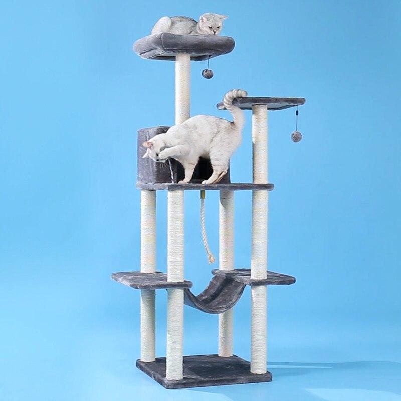 Gato de árbol, entrega doméstica de la UE, Gato trepador, torre, mueble rascador de Condo, casa gatito, hamaca con poste de rascado