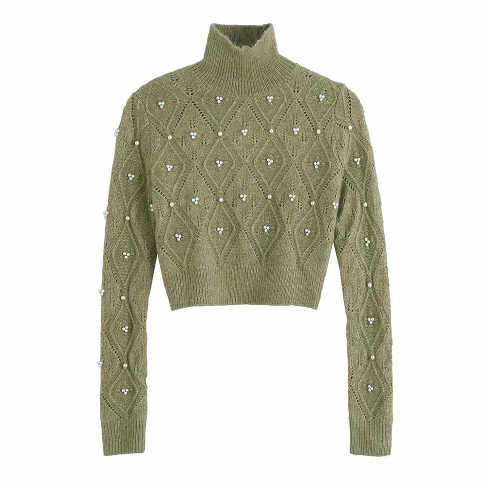Новинка 2020, Женский вязаный свитер, водолазка с искусственным жемчугом и длинными рукавами, повседневный модный элегантный шикарный укороченный женский свитер