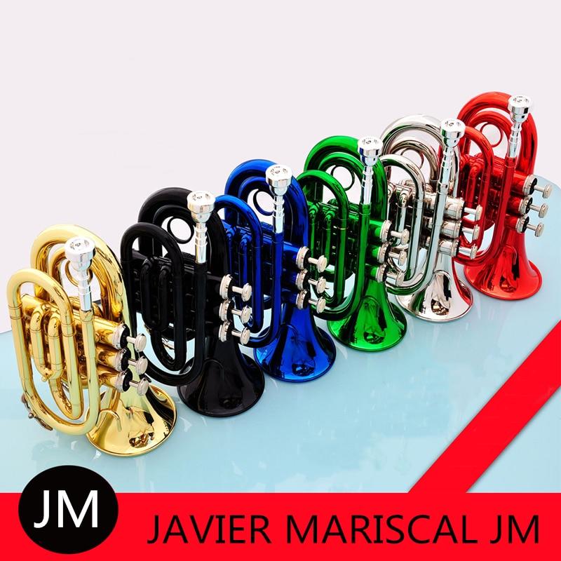 Mini trompeta Bb de bolsillo JM, instrumento de viento de latón plano con boquilla, guantes de tela de limpieza Estuche de transporte