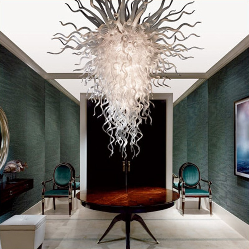 chandelier light fixtures luxury white glass living room light dale chihuly hand blown glass art led chandeliers lighting Living Room LED White Color Glass Chandelier Light for Home Decor 100 by 150cm Luxury Lobby Hand Blown Murano Indoor Lighting