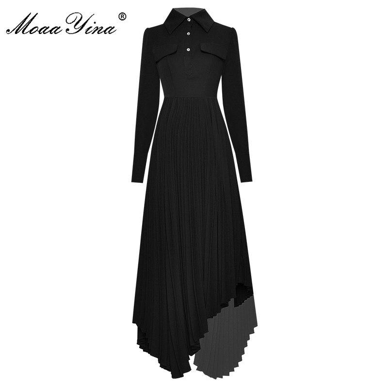 Moaayina moda runway vestido primavera autumnwomen vestido de manga longa assimétrico vestidos pretos plissados
