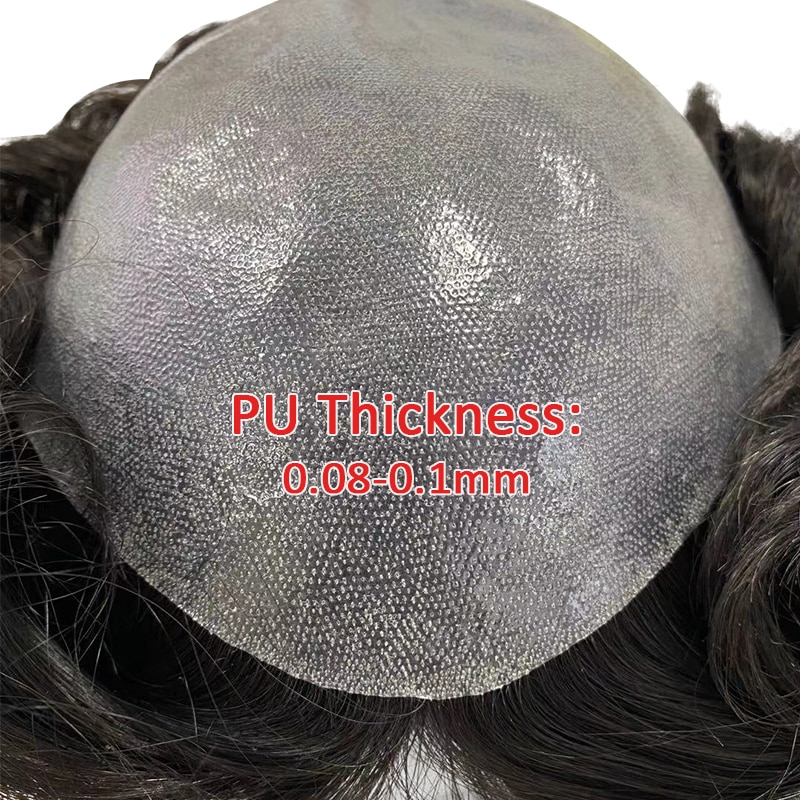 Full PU 0.08-0.1mm Men Toupee Knots Human Hair Wig Indian Remy Hair System Men Hairpiece 30mm Wave Straight Natural Color New