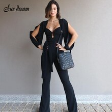 2019 Autumn New Women'S Solid Color Long-Sleeved V-Neck Hollow Belt Jumpsuit Casual Club Wide-Leg Pants Jumpsuit