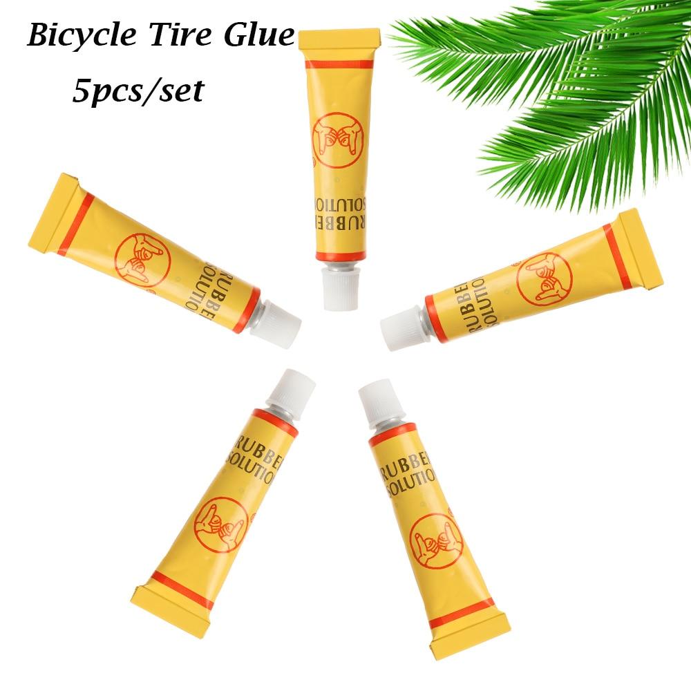 5 unids/lote 8 ML neumático de bicicleta de montaña de carretera tubo interior reparación de perforaciones de neumáticos de bicicleta Reparación de goma cemento pegamento frío parche de neumáticos de bicicleta