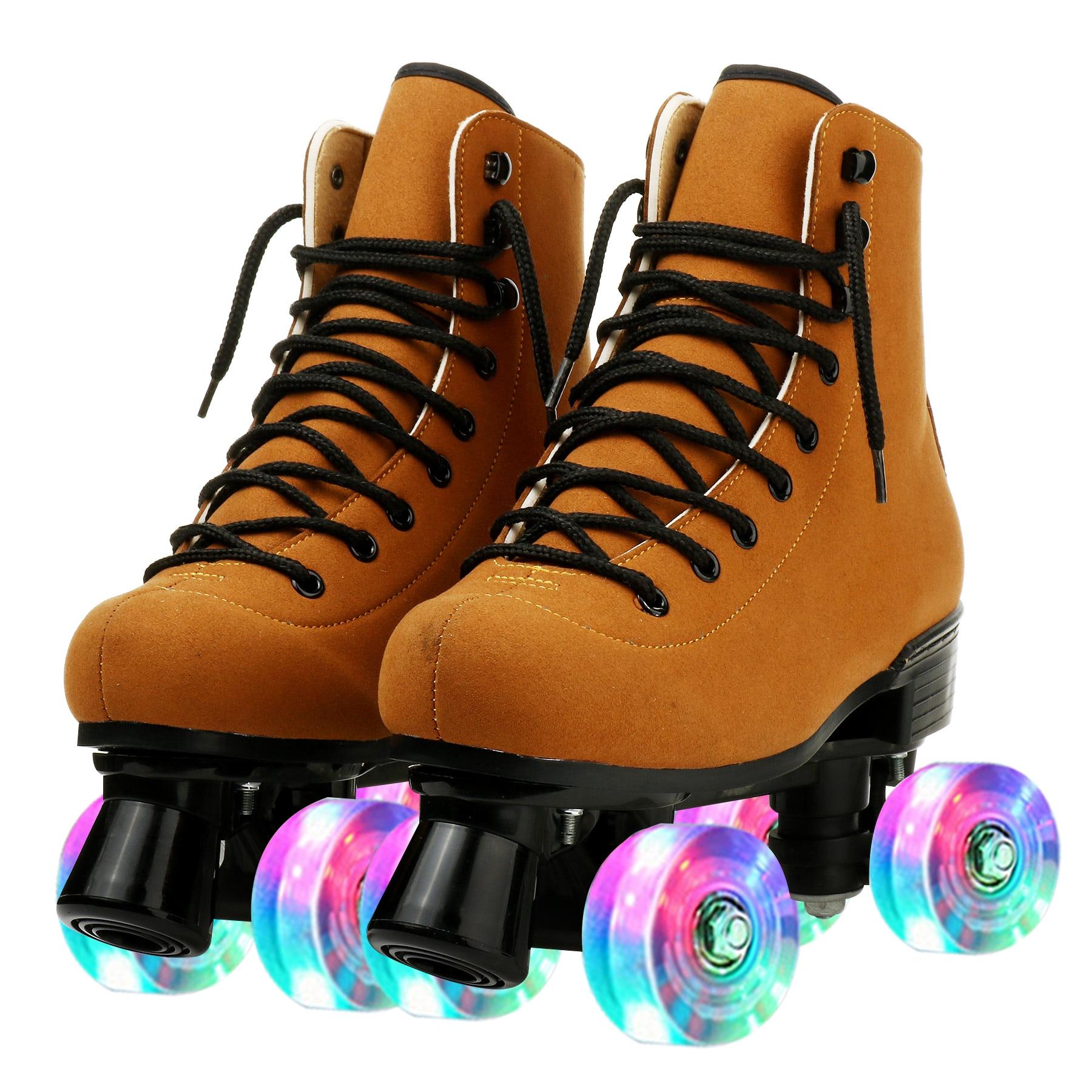 Из искусственной кожи роликовые коньки, роликовые коньки, обувь для начинающих на открытом воздухе, Встроенные коньки, взрослые двухрядные ...