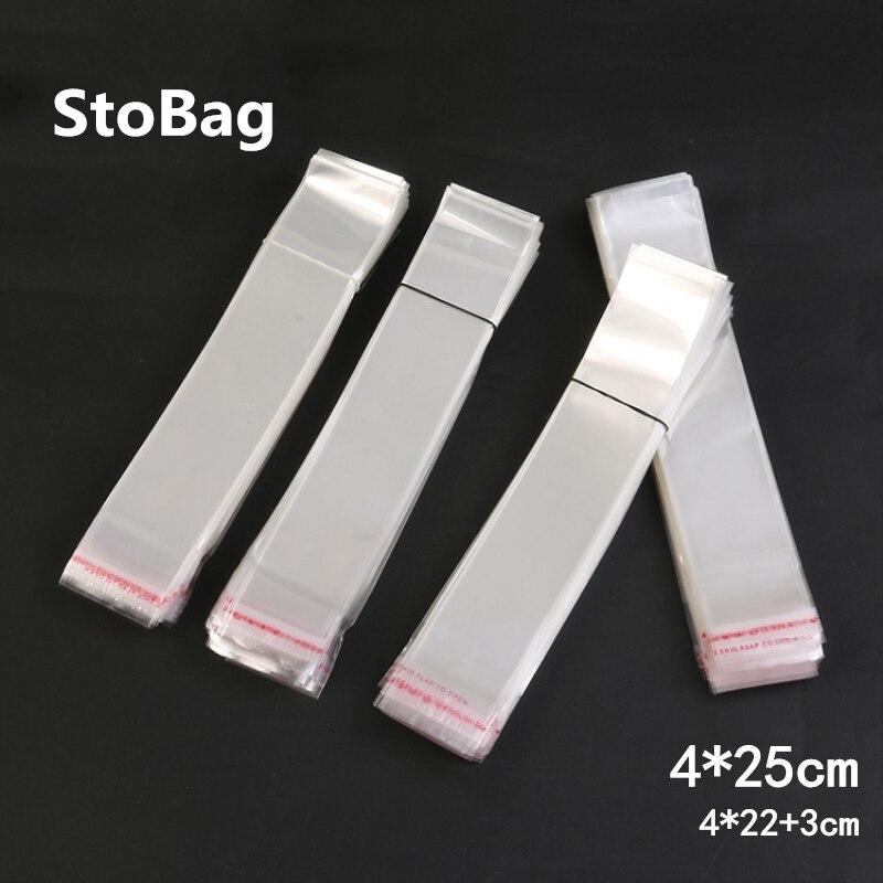 StoBag 1000 Uds 4*25cm claro celofán chelo bolsas plástico OPP Delgado caramelo galleta regalo joyería embalaje pequeña bolsa de plástico larga