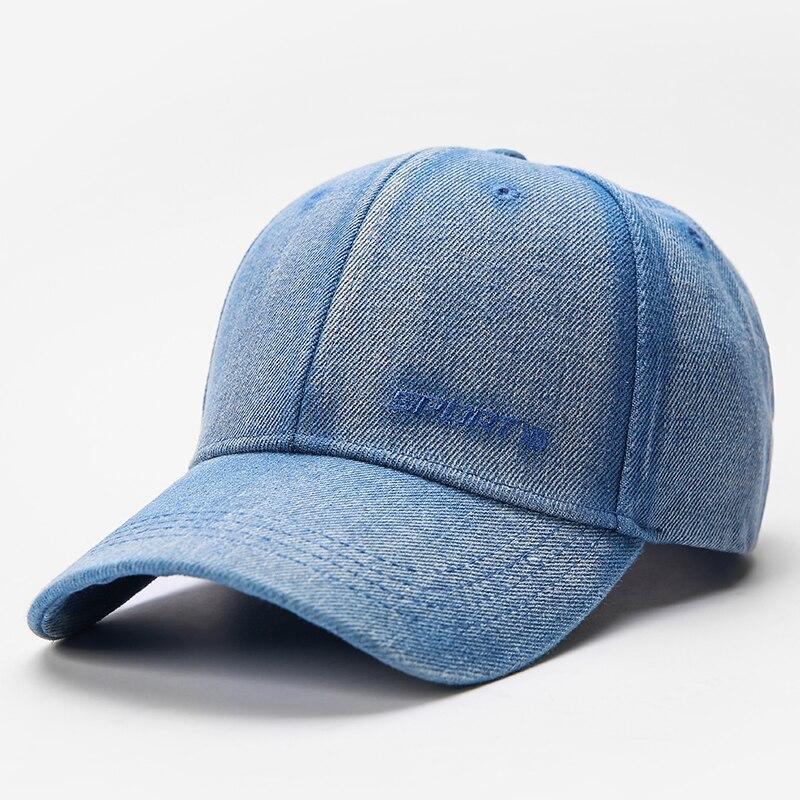 Демисезонная однотонная спортивная шапка унисекс, Потертая джинсовая бейсболка