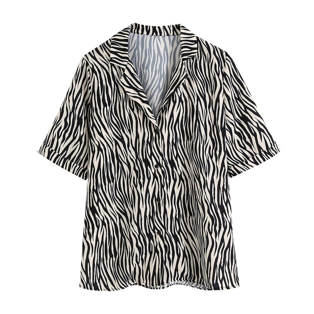 2020 de las mujeres del verano solapa nueva manga corta perezoso viento simple estampado animal print casuales salvaje gota camisa
