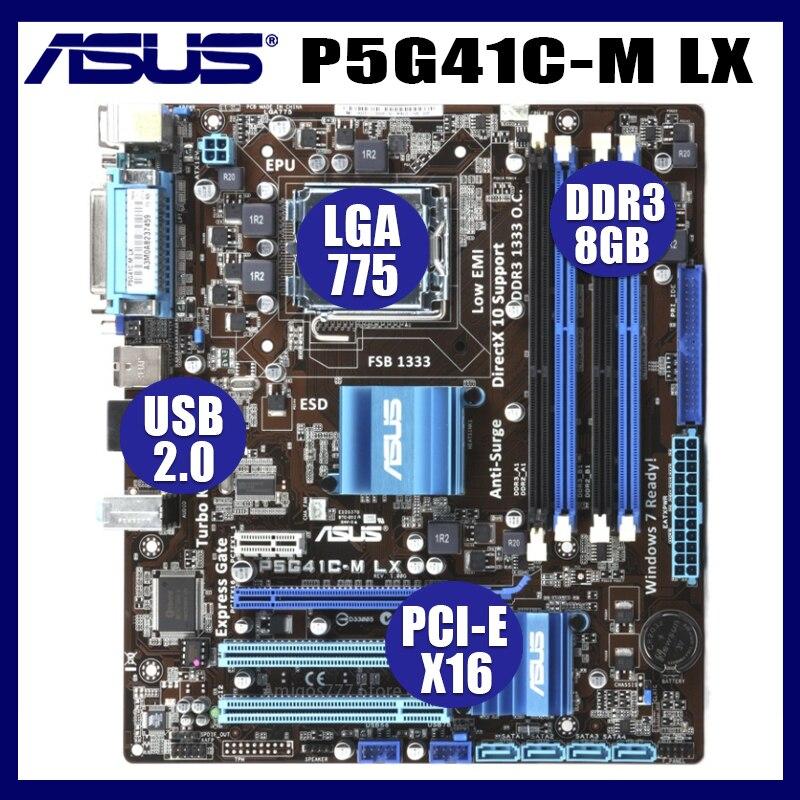 Socket LGA Asus P5G41C-M LX placa base de escritorio G41 Socket LGA...