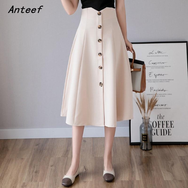 plus size vintage women 2020 high waist clothes summer spring casual loose midi skirts womens skirt saia streetwear