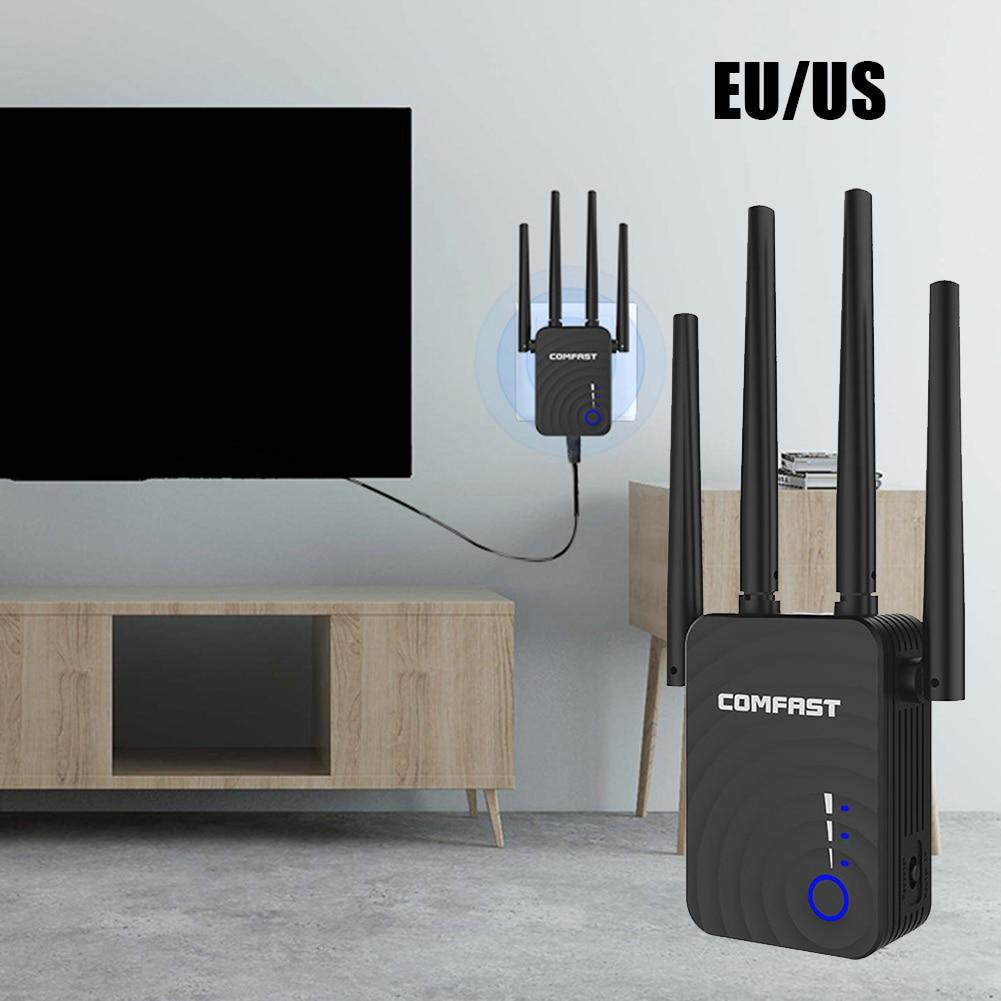 Repetidor extensor de red US/ EU COMFAST Frecuencia Dual, repetidor inalámbrico de señal de enlace Wifi de 1200Mbps