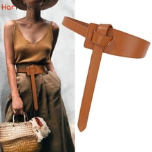First Layer Cowhide Casual Wide Belt for Women Leather Decorative Overcoat Sweater Dresses Waist-Tig