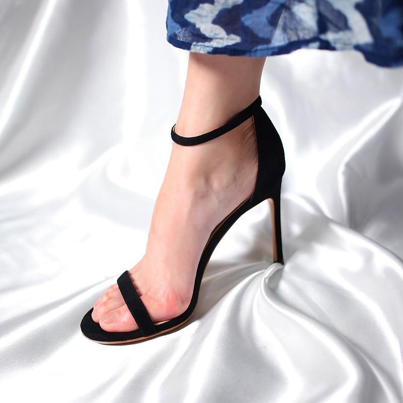 أنيقة مثير موضة النساء الصنادل المفتوحة تو 2021 أحذية الصيف مع عالية الكعب الكاحل حزام الإناث رقيقة كعب 6 سنتيمتر 8 سنتيمتر حجم كبير كبير