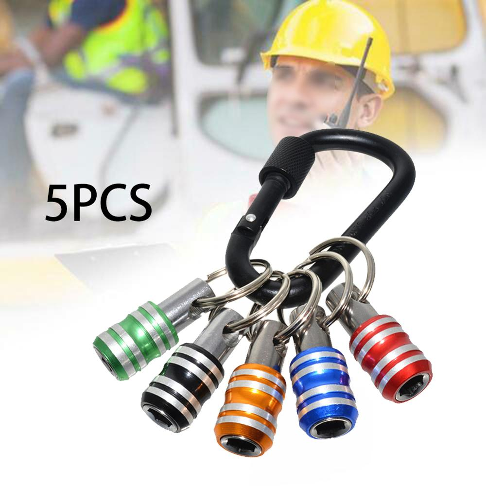 1 4 screwdriver bit hex shank screwdriver bits keychain holder extension bar drill screw adapter power tool supplies 5pcs 5pcs 1/4''  Screwdriver Socket Bit Hex Shank Bits Quick Release Easy Change Keychain Holder Extension Bar Drill Screw Adaptor