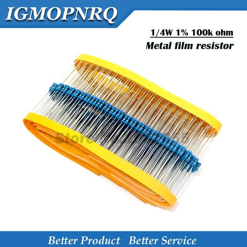 100pcs 1/4W 100k  Metal film resistor 1% 1/4W Metal film
