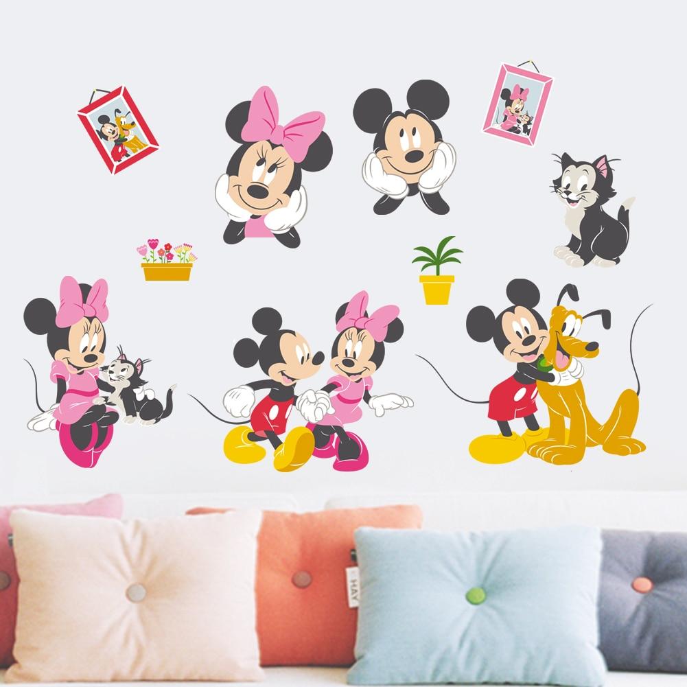 Cartoon Mickey Minnie Mouse Pluto Kat Muurstickers Home Decor Woonkamer Disney Muurstickers Pvc Muurschilderingen Diy Behang
