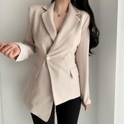 أنيقة السيدات غير النظامية هيم العمل ارتداء السترة حقق طوق الخريف زر واحد ضئيلة الخصر المرأة البدلة الستر vs446