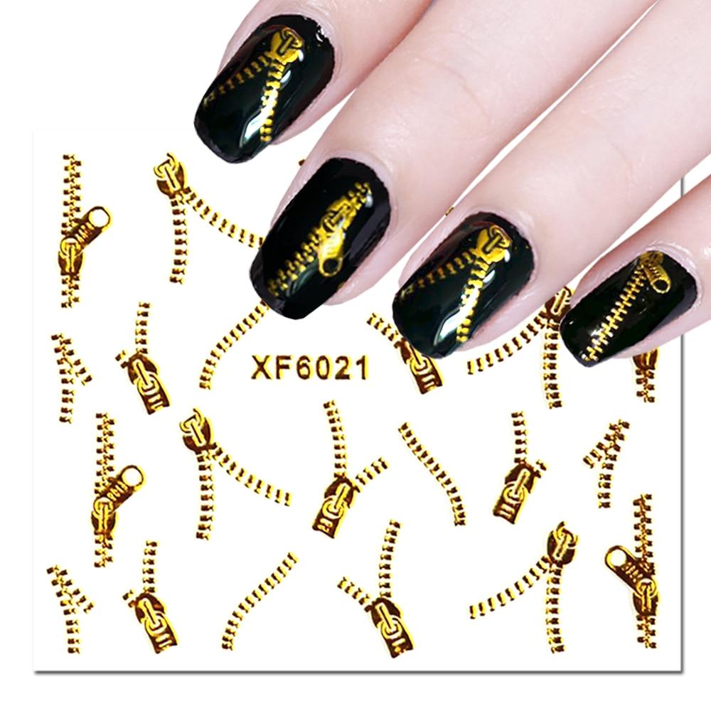 1 лист 3D золотая молния наклейка на ногти паук перо Дизайн вода переводная наклейка для украшения ногтей маникюр слайдер LA1553