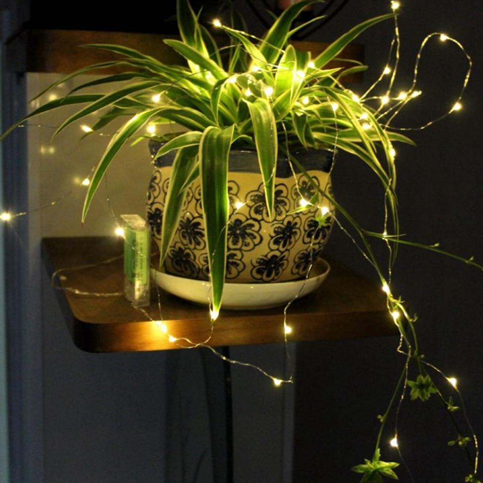 1-10м LED светлини на нишка медна тел фея - Празнично осветление - Снимка 4