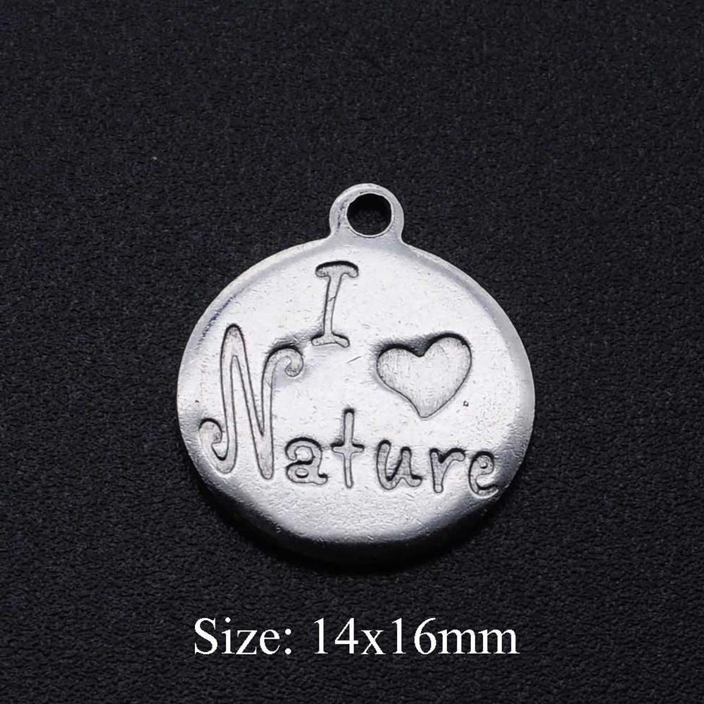 5 unids/lote 100% colgante de acero inoxidable I love Nature DIY, venta...