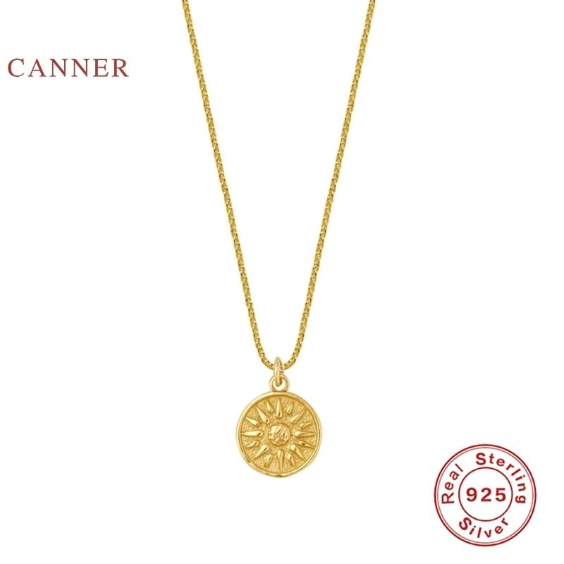 Женское колье-чокер CANNER Sun Flower, Настоящее серебро 925 пробы, ювелирные изделия 2020, Очаровательная цепочка из золота 18 К