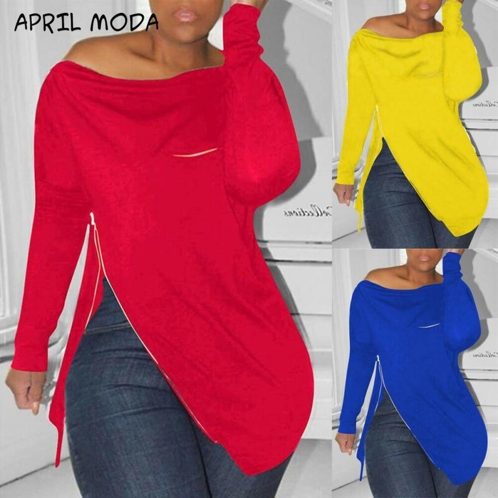 Ladies Off Shoulder Long Sleeve Pullover Casual Loose Zipper Split Tops Sweatshirt Spring Autumn Women Jumper Blouses Plus Size