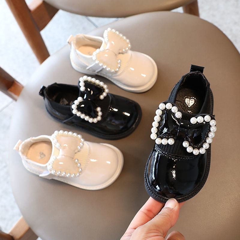 Childrens Soft-soled Single Shoes Girls Children Bowknot Pearl Princess Shoes PU Leather Shoes Sprin