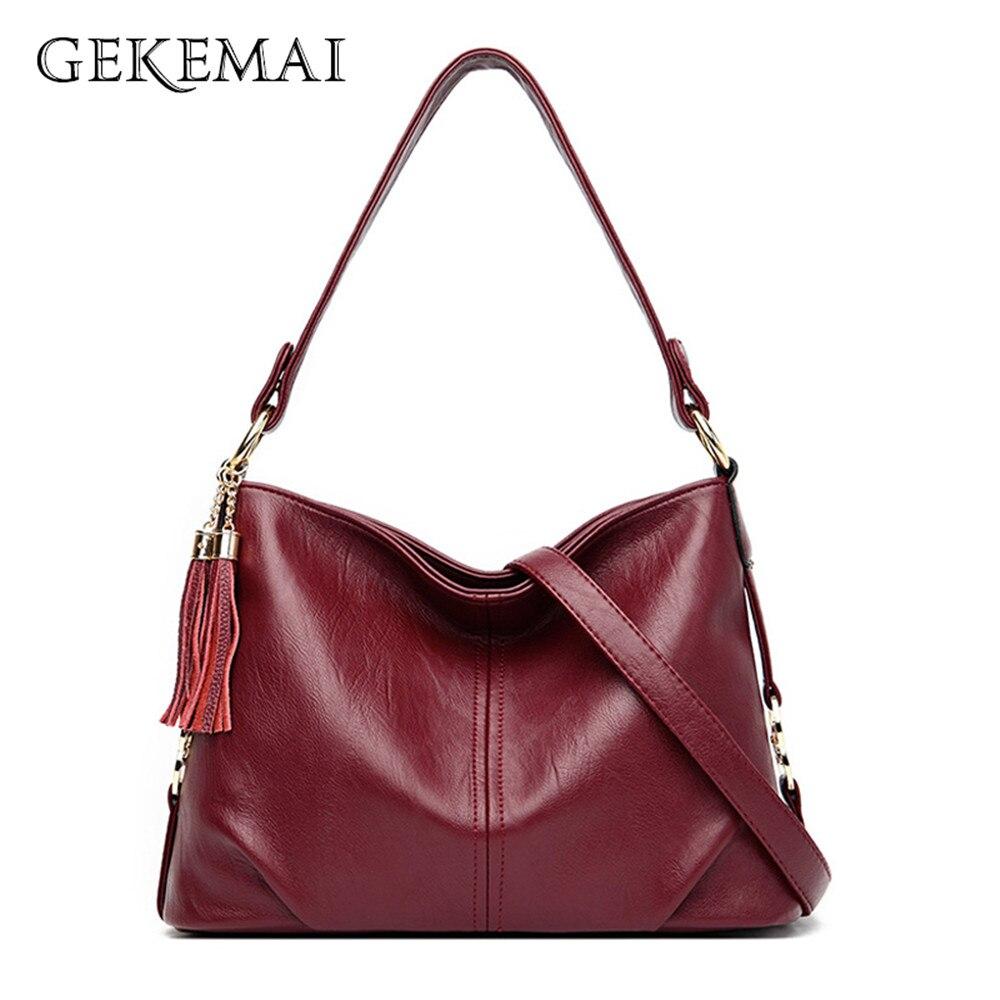 Solid Color Pleated Female Shoulder Bag Simple Tassel Designer Crossbody Bags for Women 2020 High Quality Soft Leather Handbag