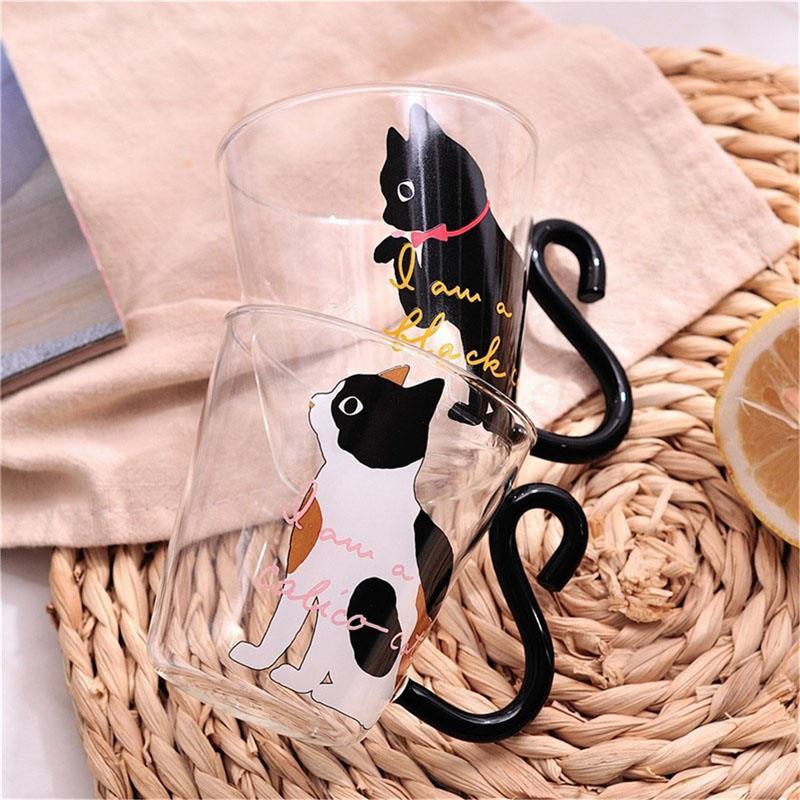 2019 nuevo 8,5 oz gato creativo lindo taza de café taza de vidrio de agua taza de té gato de dibujos animados oficina en casa taza para agua de jugo de fruta