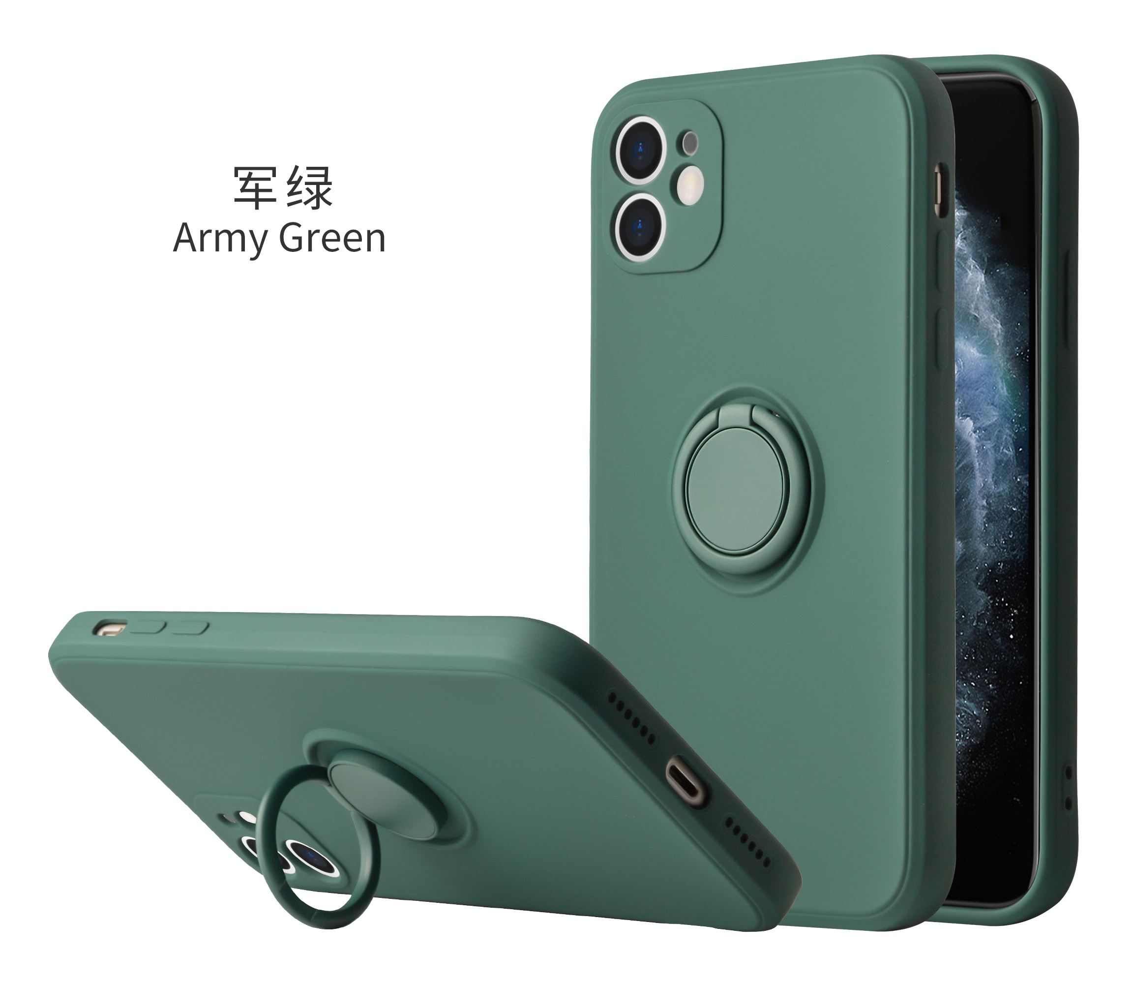 Solid Solor Silicone Case For iPhone 12 11 Pro max X XS MAX XR 7 8 Plus 360-degree Rotating Ring Stand Soft Cover