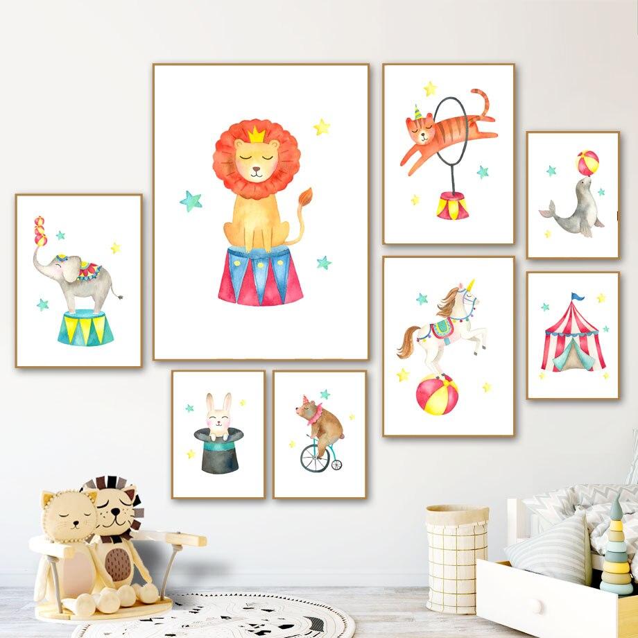 Caballo de circo León conejo foca oso Tienda animales carteles nórdicos e impresiones arte de pared lienzo pintura cuadros de pared decoración de habitación de niños