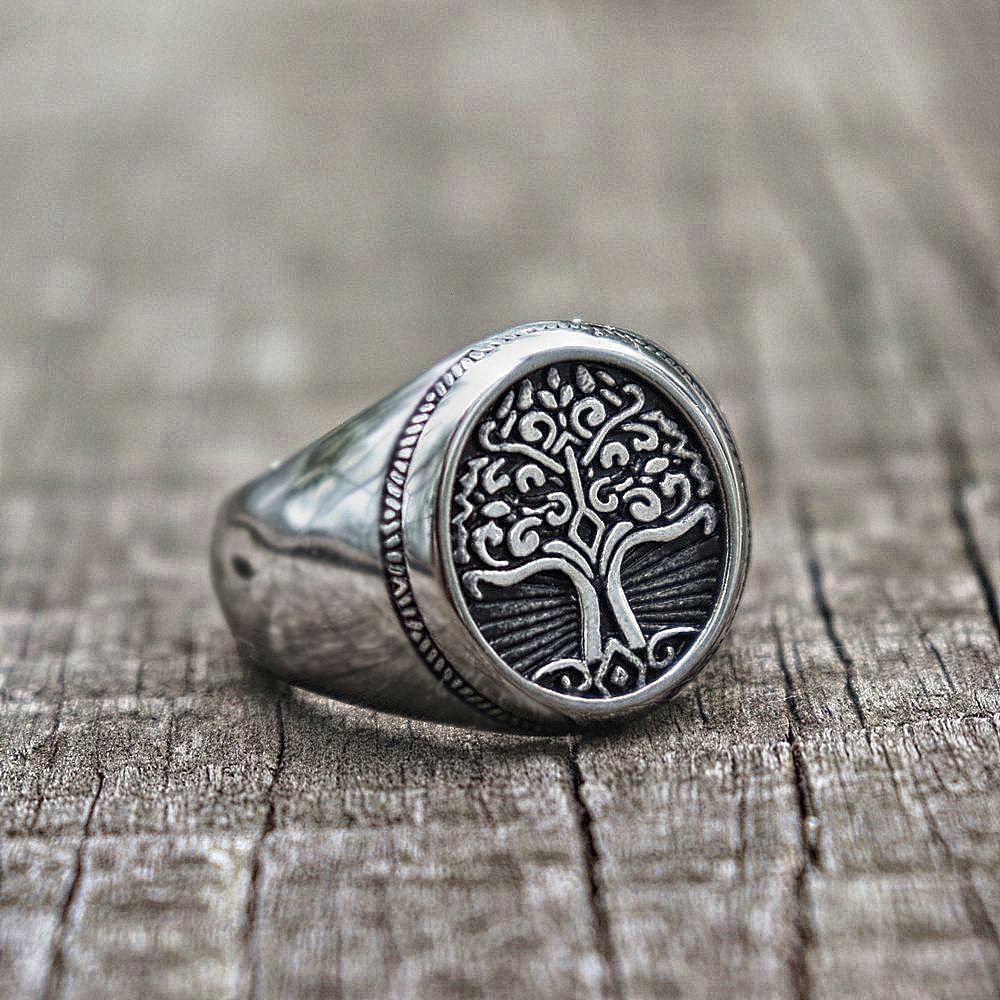 Simples árvore de vida signet anel 316l aço inoxidável clássico masculino viking amuleto anéis nordic yggdrasil jóias