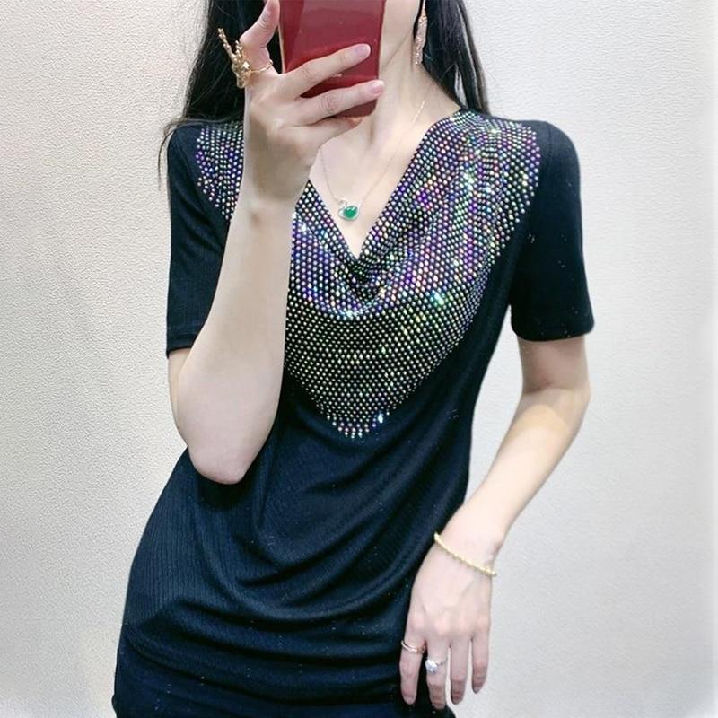 De corte Slim de manga corta Camiseta mujer lentejuelas con efecto Diamante de costura de moda cuello en V tocando fondo camiseta jersey Primavera Verano
