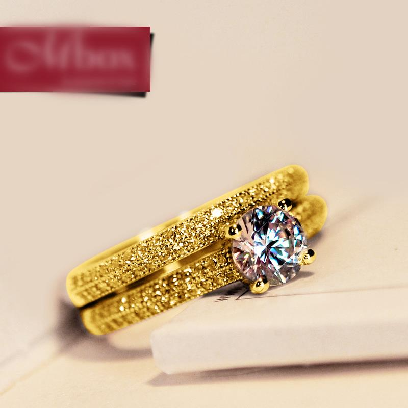 Anillo de boda redondo de cristal femenino de lujo conjunto de anillo de compromiso nupcial de oro amarillo de 18 quilates promesa anillos de piedra circón para las mujeres