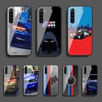 sportscar b m w phone tempered glass case cover for xiaomi redmi note 7 7a 8 8t 9 9s 9a 10 k20 k30 pro ultra fashion cover black