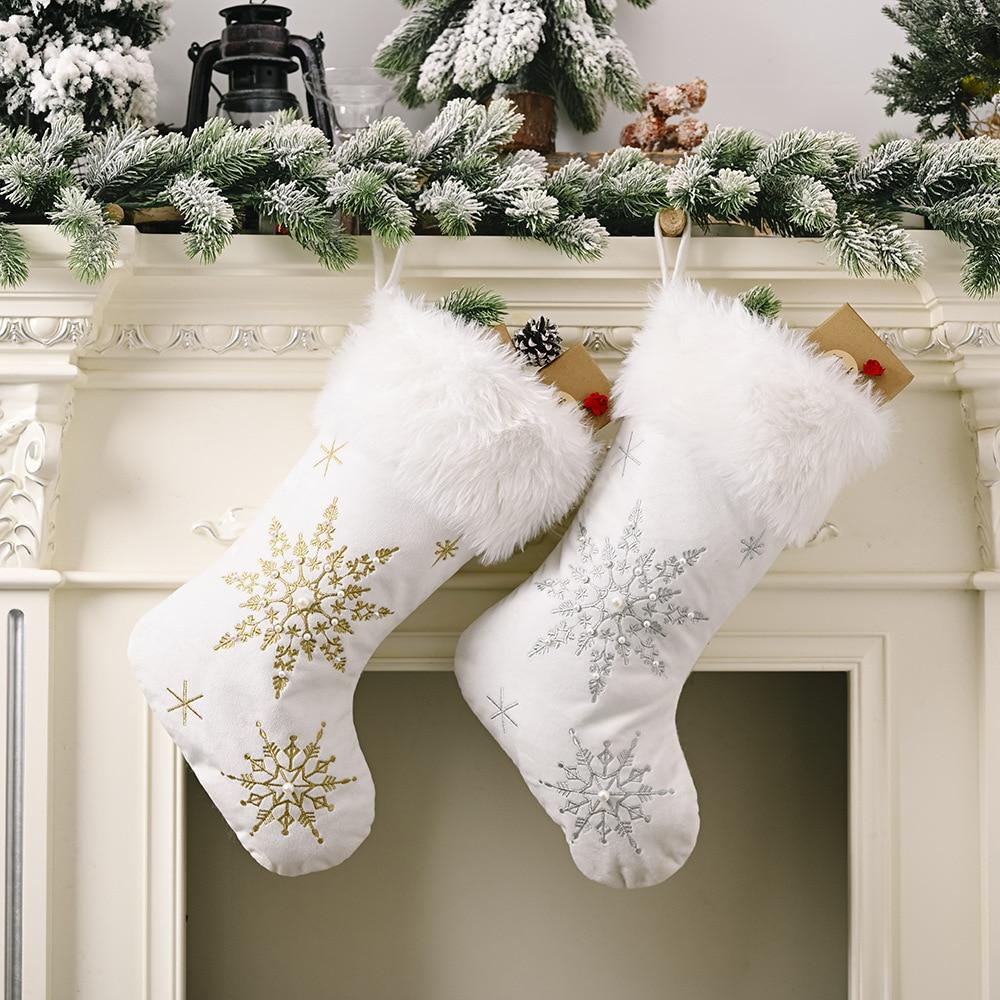 Medias de Navidad estampado blanco oro copo de nieve adornos de Navidad adorno colgante de árbol de Navidad decoraciones Noel regalo calcetines
