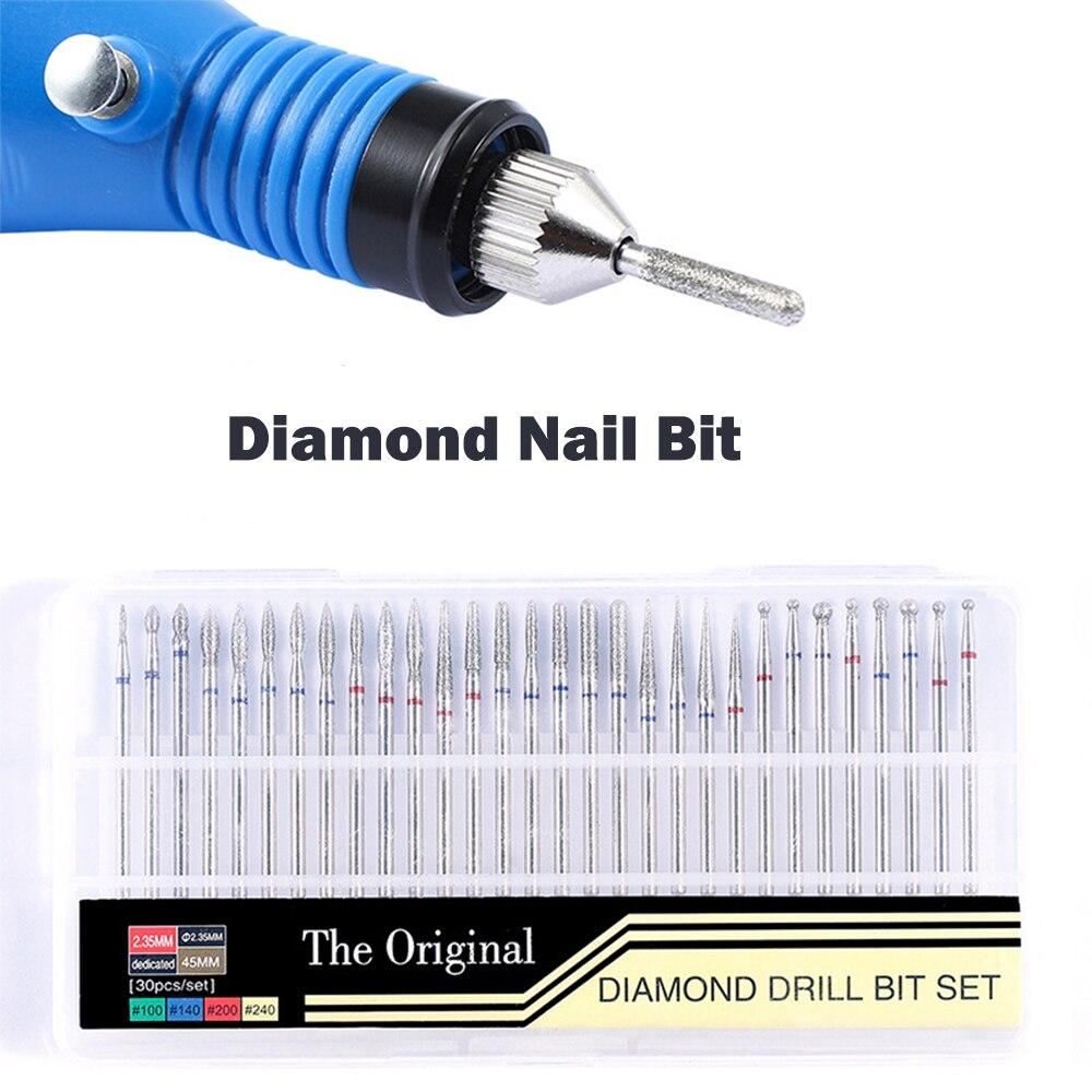 30 Uds. Fresas de diamante para manicura, broca giratoria para uñas, máquina de pedicura eléctrica, equipo, herramienta para eliminar cutículas
