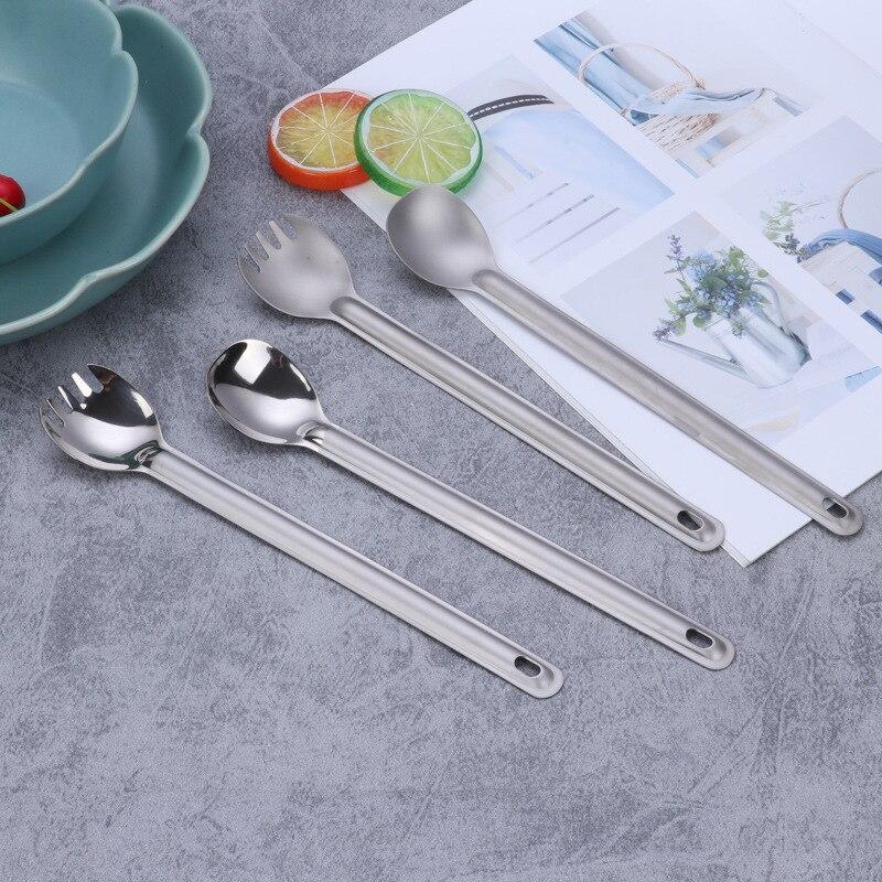 El hogar al aire libre de titanio puro mango largo redondo titanio cuchara ligero ultraligero Spork