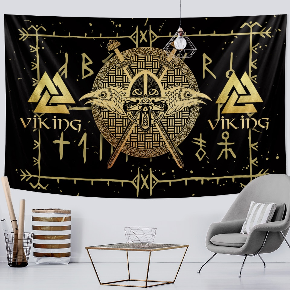 Viking mystical symbol home decoration tapestry psychedelic scene wall hanging Bohemian decoration crow sofa blanket yoga mat