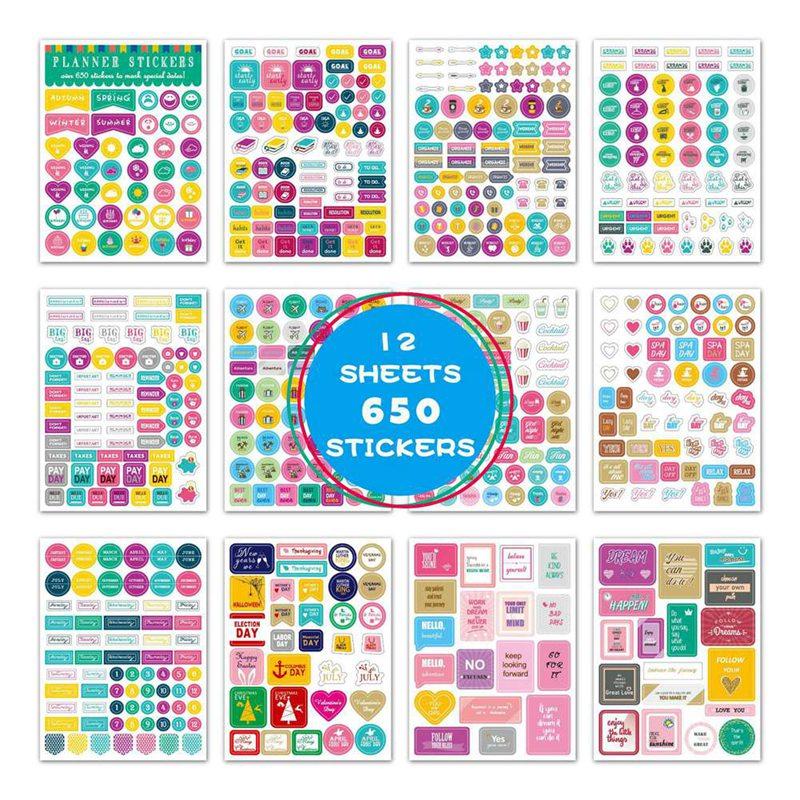 12-fogli-set-kawaii-pvc-trasparente-planner-calendario-diario-diario-adesivo-scrapbook-decorazione-scuola-cancelleria-per-ufficio