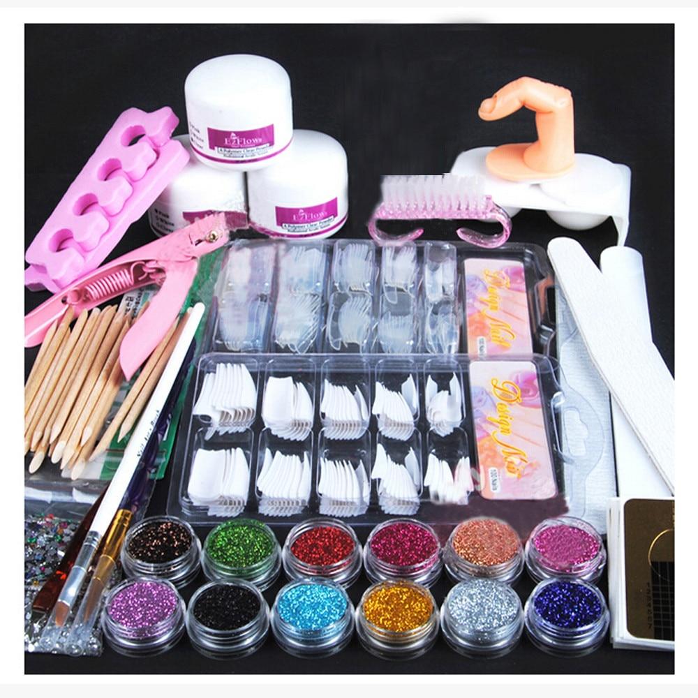 Set de manicura, polvo acrílico, purpurina, cepillo para uñas, Kit de herramientas de decoración de uñas, Set profesional de decoración de uñas 2020