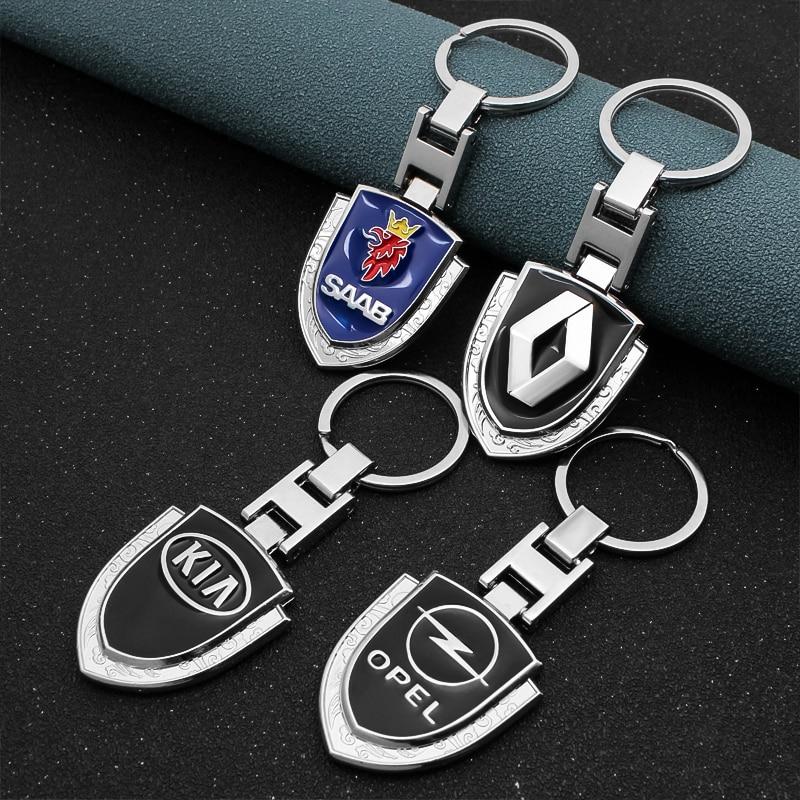 Voiture style 3D métal voiture porte-clés porte-clés porte-clés voiture emblème pour Renault Mazda Nissan Subaru Volvo siège Hyundai Fiat Kia