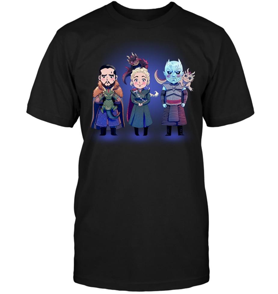 Juego de tronos Jon Snow Daenerys Targaryen rey de la noche Chibi Linda camiseta negra fresca camiseta Casual